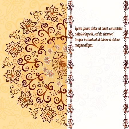 iranian: Vintage chocolate and cream ornament background with vertical place for your text