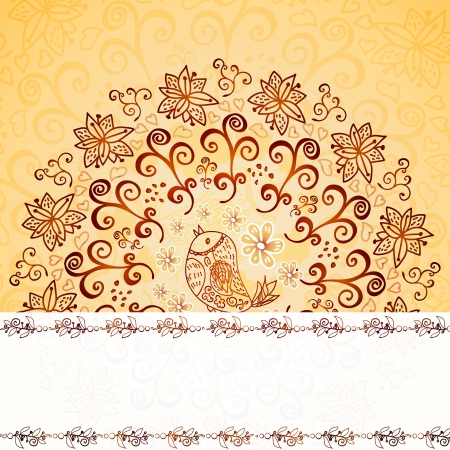 Vintage chocolate and cream ornament background with horizontal place for your text Vector