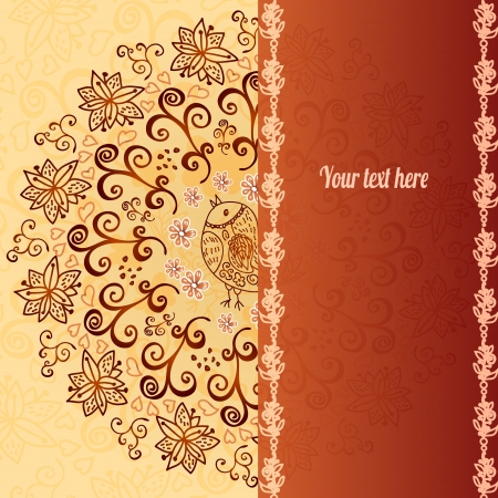 Vintage chocolate and cream ornament background with vertical place for your text Vector