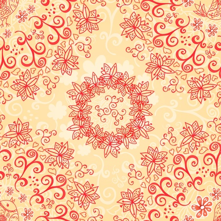 Red and cream floral seamless pattern Stock Vector - 18078110