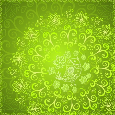 Green abstract floral ornament background Vector