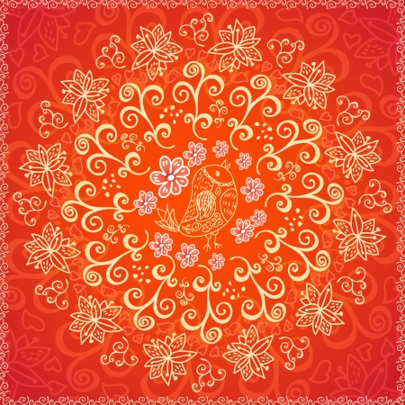iranian: Red floral ornament background