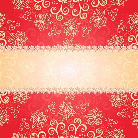 Red floral ornament background with frame for your text Vector