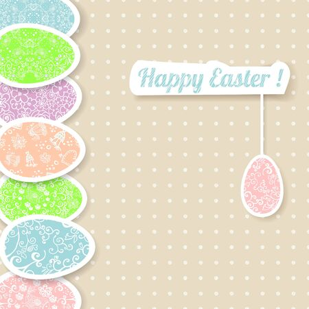 Easter vintage background frame with colorful ornament eggs with place for your text. Vector