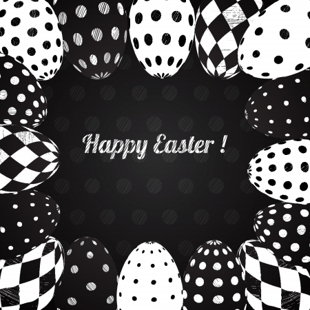 Black and White Background of Easter Eggs with Patterns Vector