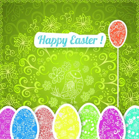 religion  herb: Easter green background with ornament eggs with horizontal place for your text. Illustration