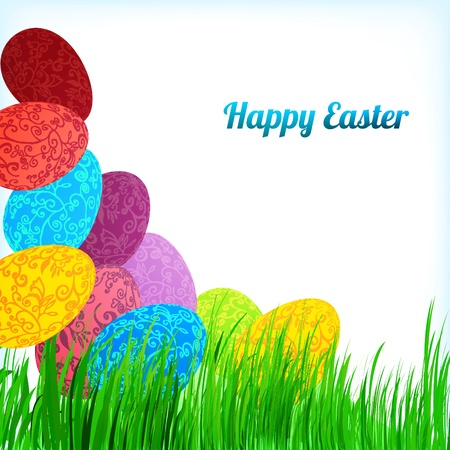 Easter background with colorful ornament eggs on grass with place for your text. Vector