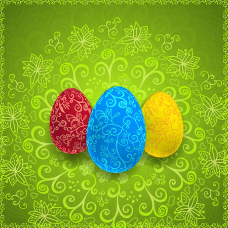 religion  herb: Easter green background with ornament eggs with place for your text.