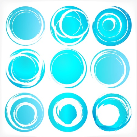 whirl: Design elements set in blue colors icons illustration