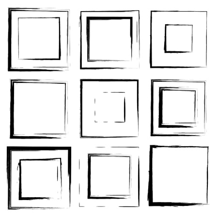 set of grunge square brush strokes for frames, icons, design elements