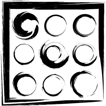 conjunto de trazos de pincel grunge círculo de los marcos, iconos, elementos de diseño