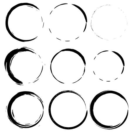 grunge cirkel penseelstreken voor frames, iconen, design elementen Stock Illustratie
