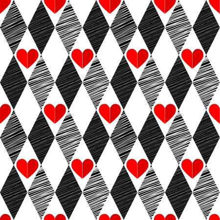 Black and White, Red Love Valentins Day Love harlequin seamless background with rhombus and hearts Vector