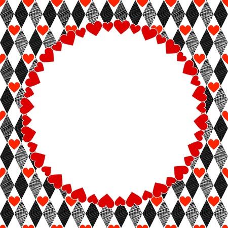 arlecchino: Arlecchino Cuori Rosso, Bianco e nero Art sfondo, cornice rotonda con posto per il testo