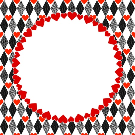 harlequin: Harlequin Hearts Red, Black and White Art Background, Round Frame with place for your text