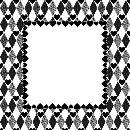 Harlequin Hearts Black and White Art Background, Square Frame with place for your text Vector