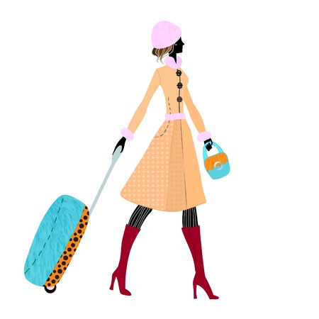 illustration of a young elegant woman with luggage, suitcase Vector
