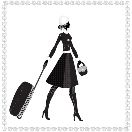 Black and white illustration of a young elegant woman with luggage, winter Vector