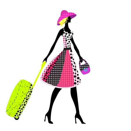 illustration of a young elegant woman with luggage, summer Çizim