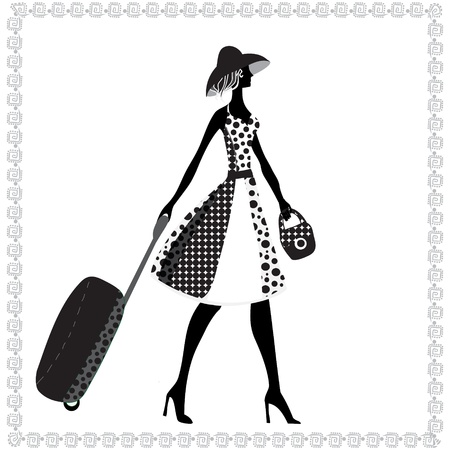 luggage airport: Black and white illustration of a young elegant woman with luggage, summer