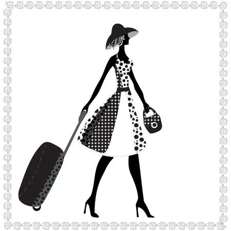 Zwart-wit afbeelding van een jonge elegante vrouw met bagage, zomer