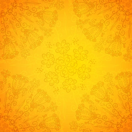 Vintage ethnic vector ornament orange background