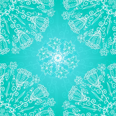 Blue floral ornament doodles background card Vector