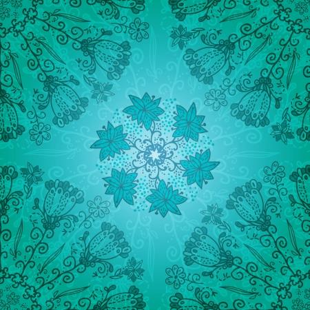 persian art: Dark blue floral ornament doodles background card Illustration