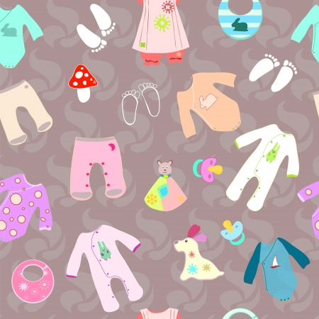 baby carriage: Baby shower birth seamless background boy and girl