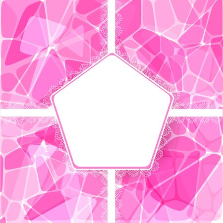 Abstract pink geometric card with lace label Stock Vector - 18460727