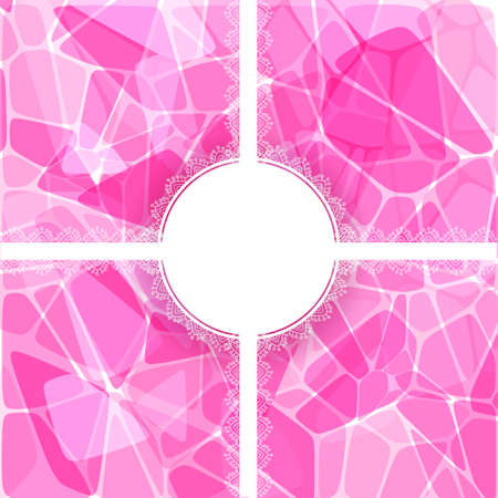 Abstract pink vector geometric card with lace circle label Stock Vector - 18460724