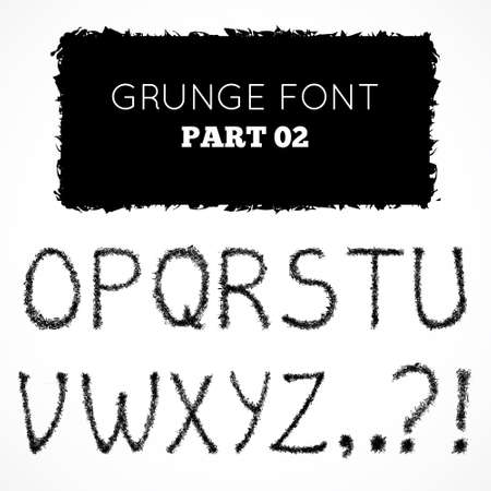 Grunge hand written alphabet.  Vector