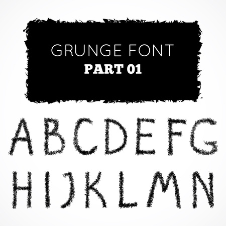 Grunge hand written alphabet.  Stock Vector - 18490632