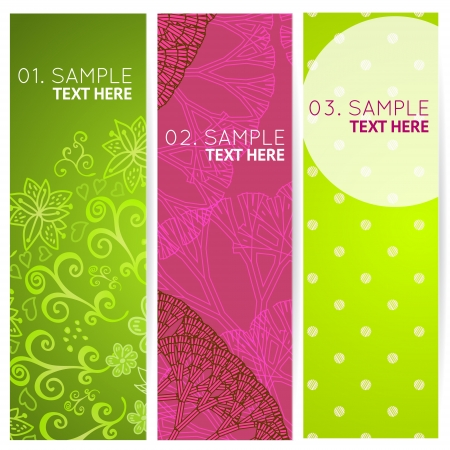flower clip art: Set colorful 3 banners with abstract trees, polka dots and doodles
