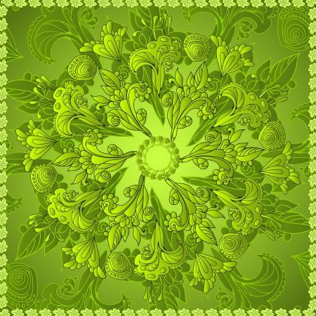 persian art: Green floral ornament mandala doodles background card Illustration