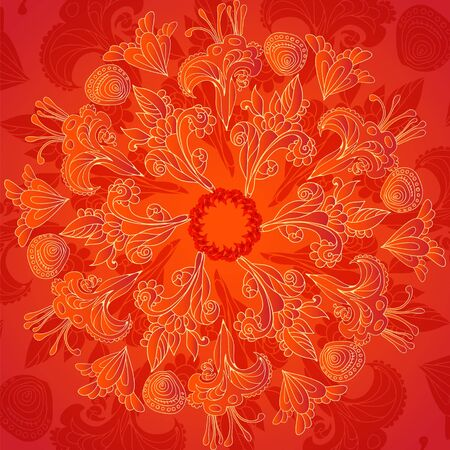 Red floral ornament mandala doodles background card Vector