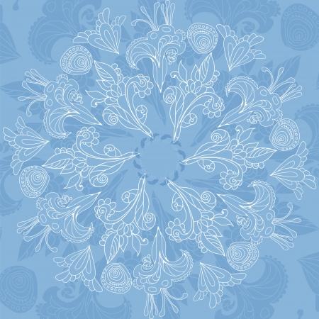 Blue floral ornament mandala doodles background card Vector