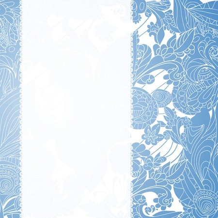 Vintage blue floral ornament doodles background card with place for your text Vector