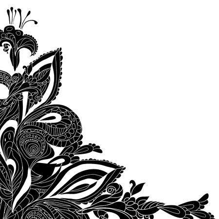 indien muster: Vintage schwarz floralen Ornament Doodles Frame-Karte mit Platz f�r Ihren Text Illustration