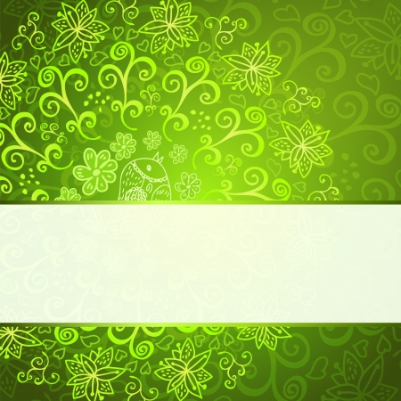persian art: Green abstract floral ornament background with place for your text