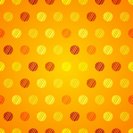 Vintage yellow background with orange grunge polka dots seamless pattern Vector