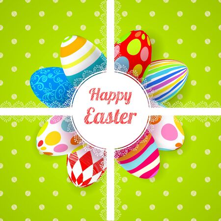 religion  herb: Easter green background card with 3D ornament eggs.