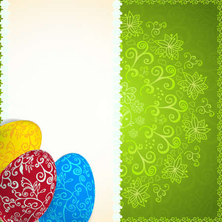 religion  herb: Easter green background with ornament eggs with place for your text.  Illustration