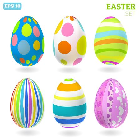 3D easter eggs set with shadows. Easter set Vector