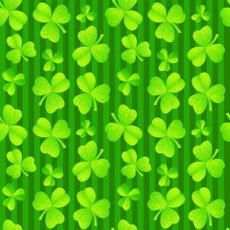 Green clover seamless holiday background for St Patrick day Vector