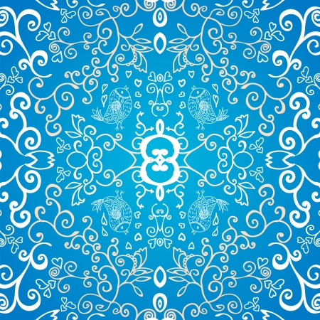 Blue symmetric floral ornament background Vector