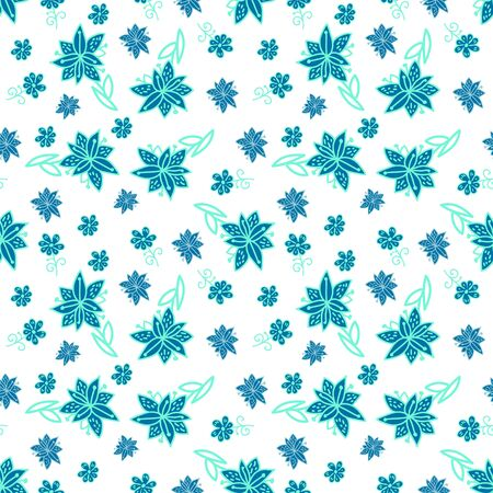 Vintage blue and white floral seamless pattern with doodle flowers and plants Stock Vector - 18490532