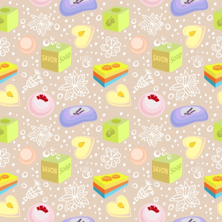 laundry care: Seamless pattern with bath soaps, bombs and doodle flowers Illustration