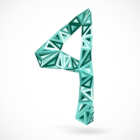 Geometric number four with triangles. illustration. Illustration