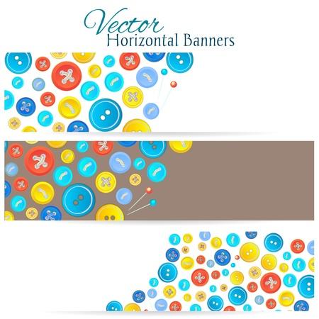 coser: Juego de 3 banderas con los botones de la vendimia para el diseño de su web Vectores